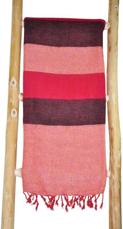 Wollen sjaal rood roze gestreept – online bestellen -Shawls4you