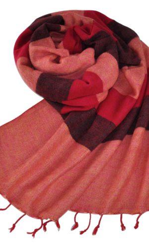 Wollen sjaal rood roze gestreept - online bestellen -Shawls4you