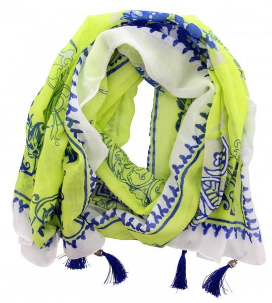 Sjaal Blauw, Groen, Wit (180 x 88 cm)