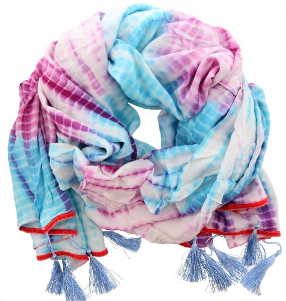 Sjaal Blauw, Paars, Wit (226 x 120 cm)