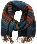 Sjaal Blauw, Bruin, Oranje