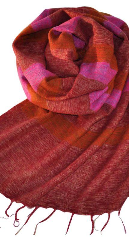Tibetaanse Omslagdoek Roze Rood – online bestellen -Shawls4you