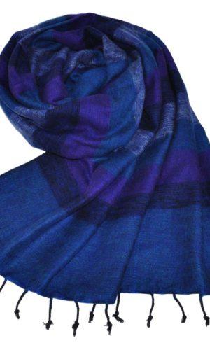 Nepal Omslagdoek Blauw Gestreept - online bestellen -Shawls4you