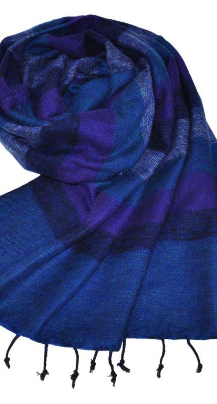 Nepal Omslagdoek Blauw Gestreept – online bestellen -Shawls4you