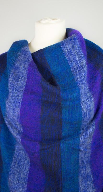 Nepal Omslagdoek Blauw Gestreept1