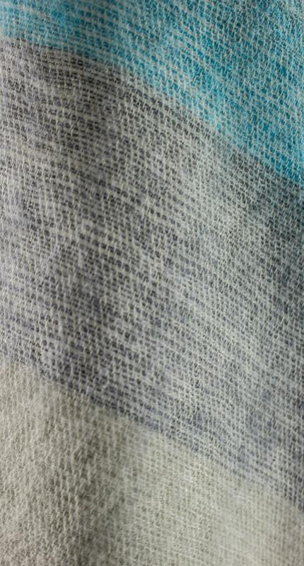 Nepal Omslagdoek Blauw, Grijs Gestreept1