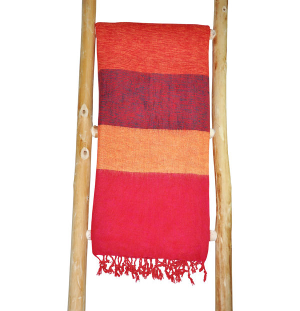 Nepal Omslagdoek Geel, Rood gestreept – online bestellen -Shawls4you.nl