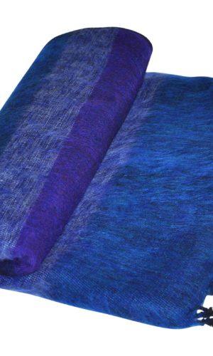 Yak Wol Deken Blauw Gestreept - online bestellen - shawls4you
