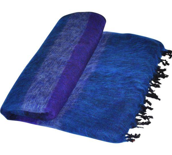 Yak Wol Deken Blauw Gestreept – online bestellen – shawls4you