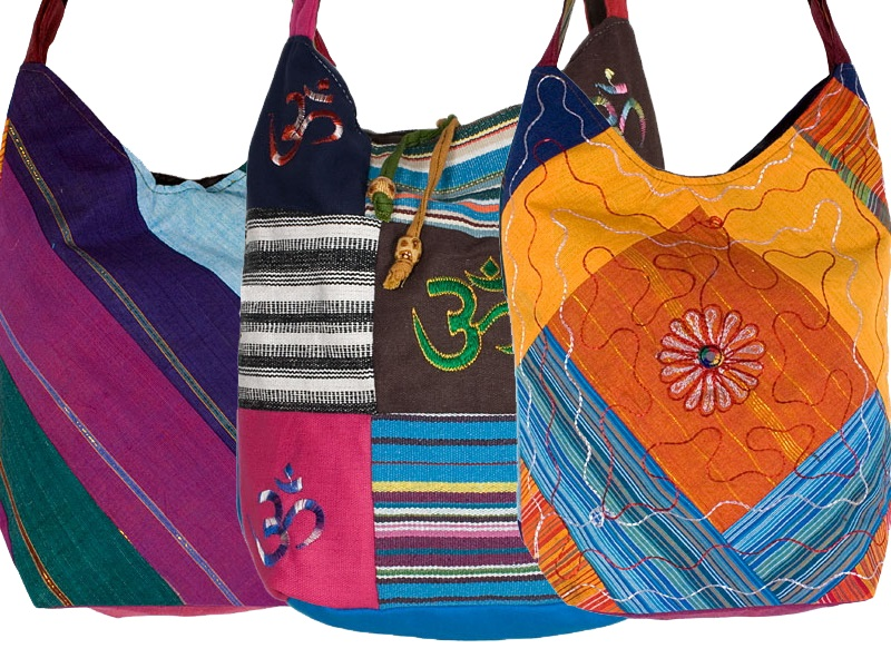 Handgemaakte lapwerk tassen uit Nepal