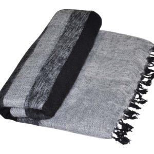 Nepal Deken zwart, grijs gestreept - Online Bestellen - Shawls4you