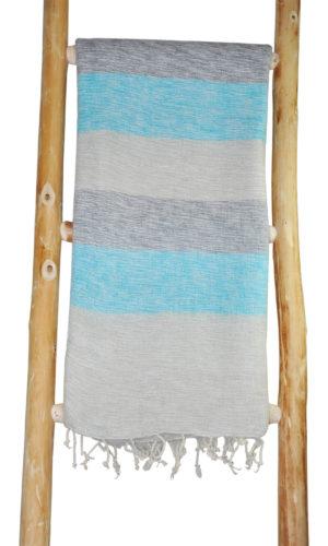 Nepal Omslagdoek Blauw, Grijs Gestreept - online bestellen -Shawls4you