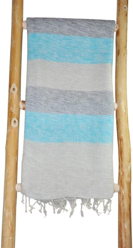 Nepal Omslagdoek Blauw, Grijs Gestreept – online bestellen -Shawls4you