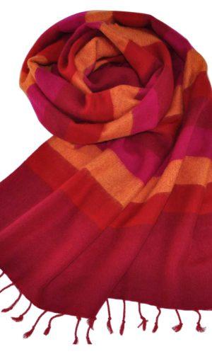 Nepal Sjaal Rood Geel Roze Gestreept - online bestellen -Shawls4you
