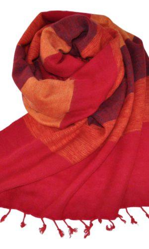 Nepal Sjaal Rood Gestreept - online bestellen -Shawls4you
