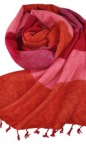 Nepal omslagdoek rood roze gestreep - online bestellen -Shawls4you.nl