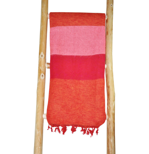 Nepal omslagdoek rood roze gestreep – online bestellen -Shawls4you.nl