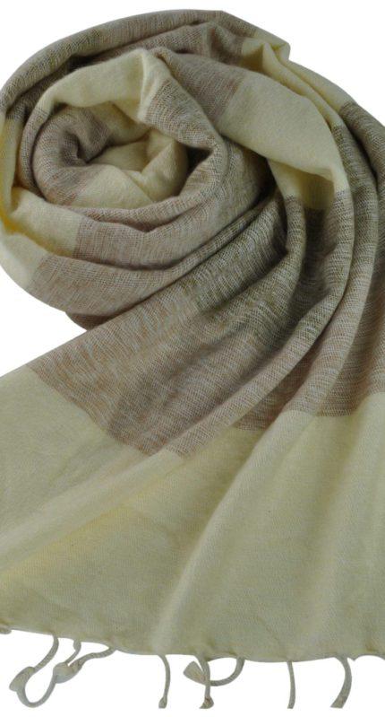 Nepal sjaals creme grijs – online bestellen -Shawls4you