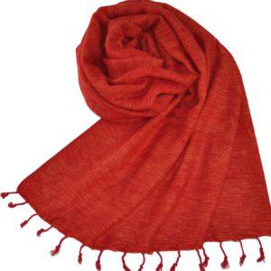 Tibetaanse Wollen Omslagdoek Rood, Oranje - online bestellen -Shawls4you