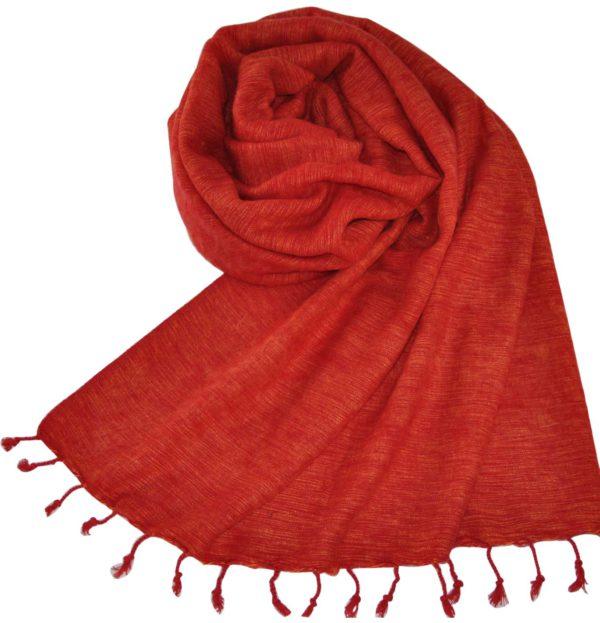 Tibetaanse Wollen Omslagdoek Rood, Oranje – online bestellen -Shawls4you