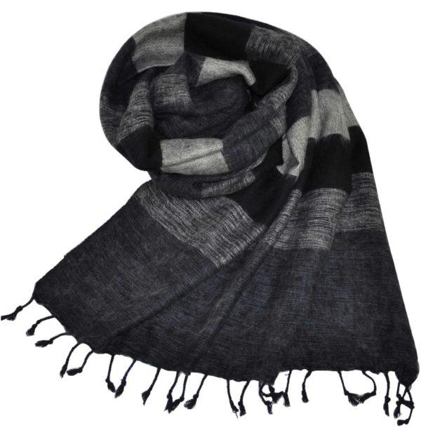 Yak Sjaal zwart grijs uit Nepal – online bestellen – shawls4you.nl