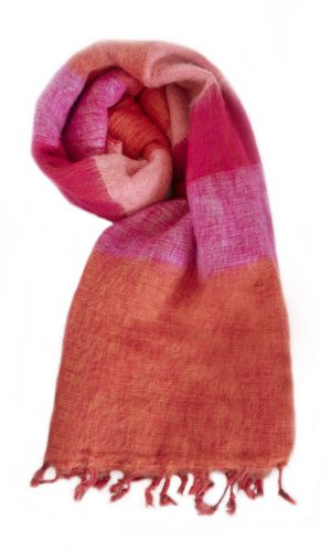 Nepal Omslagdoek Oranje Rose Cyclaam- online bestellen -Shawls4you.nl