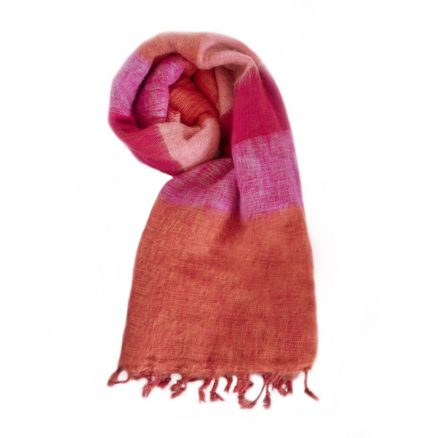 Nepal Omslagdoek Oranje Rose Cyclaam- online bestellen -Shawls4you.nl