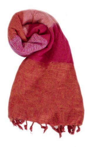 Nepal Omslagdoek Oranje Rood Rose - online bestellen -Shawls4you.nl