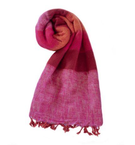 Omslagdoek Roze Rood | Fairtrade | Nepal | handmade | shawls4you.nl